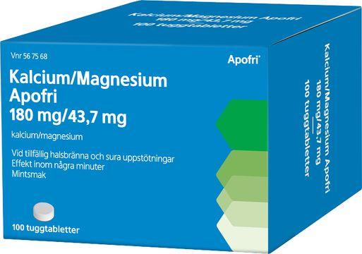 Kalcium/Magnesium Apofri 180 mg / 43,7 mg Kalciumkarbonat, magnesiumhydroxid, tuggtablett, 100 st