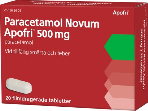 Apofri Paracetamol Novum 500 mg Paracetamol, tablett, 20 st