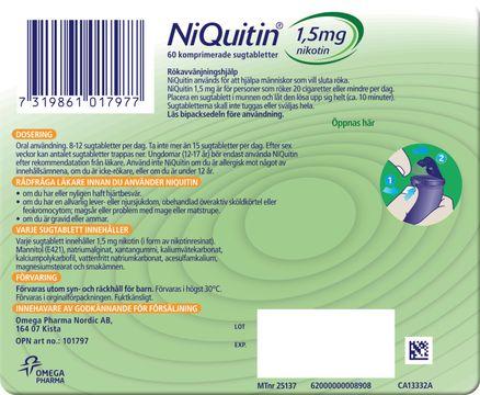 NiQuitin mintsmak Komprimerad sugtablett med nikotin 1,5 mg, 60 tabletter