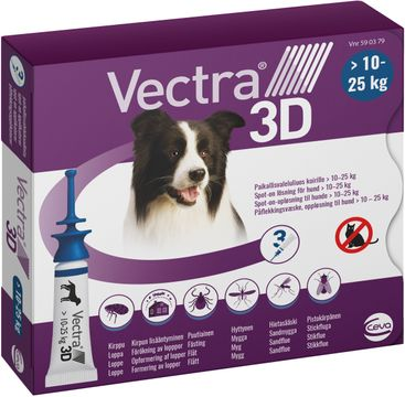 Vectra 3D för hund,10-25 kg Spot-on fästingmedel, lösning, 3 x 3,6 ml