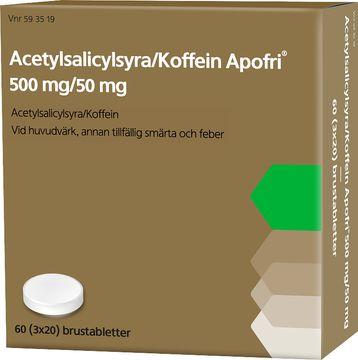 Acetylsalicylsyra/Koffein Apofri 500 mg/50 mg Acetylsalicylsyra, koffein, brustablett, 60st