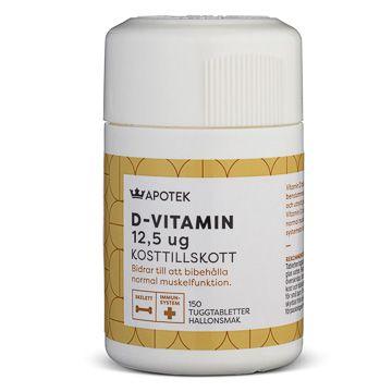 Kronans Apotek D-Vitamin 12,5 µg Tuggtabletter med hallonsmak, 150