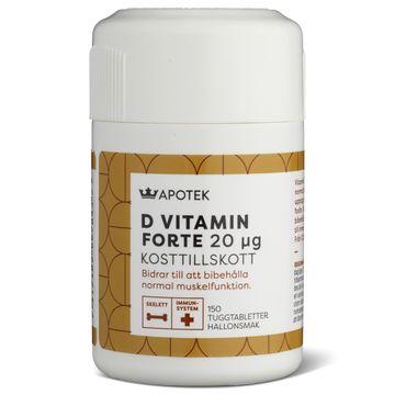Kronans Apotek D-Vitamin 20 µg Tuggtablett med hallonsmak, 150 st