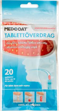 Medcoat tablettöverdrag Jordgubb tablettöverdrag, 20 applikatorer, smak jordgubb 20 styck