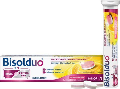 Bisolduo Jordgubb Mint Mot rethosta. Sugtablett. 80 mg/5mg, 18 styck.