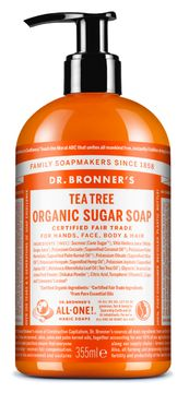Dr. Bronner's Organic Sugar Soap Tea Tree Duschtvål, 355 ml