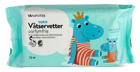 Kronans Apotek Doris Våtservetter Barn Våtservetter Oparfymerad, 72 st