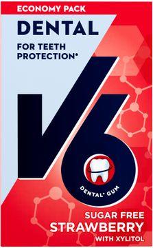 V6 Dental Care Strawberry Mint Tuggummi, 50 st