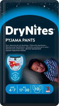 DryNites Pyjama Pants Boy 4-7 år Nattblöja, 10 st