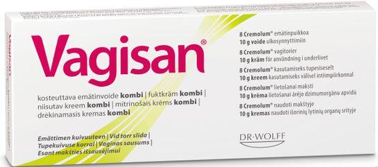 Vagisan Fuktkräm och Vagitorier Hormonfri Intimkräm, 8x10 g