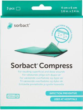 Sorbact Compress Sårförband, 4x6 cm, 3 st
