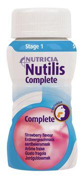 Nutilis Complete stage 1 komplett kosttillägg, jordgubb 4 x 125 milliliter
