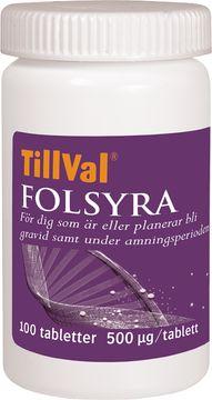 MittVal TillVal Folsyra kosttillskott Tablett, 100 st