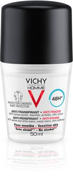 Vichy Homme Anti-Stains Deo 48H Deodorant, 50 ml