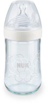 NUK Nature Sense Glas-flaska vit 240ml 1st