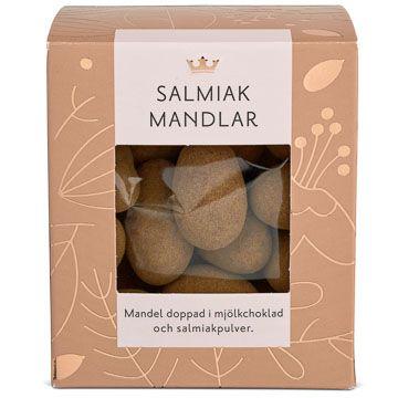 Kronans Apotek Salmiakmandlar Mandel doppad i choklad och salmiak. 175 g
