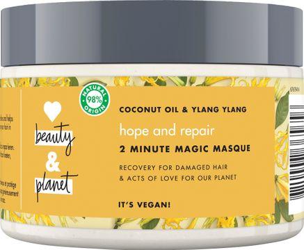Love Beauty and Planet hårmask Kokosolja och ilang-ilang. Tvåminutersmask för skadat hår. 300 ml