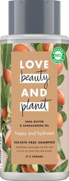Love Beauty and Planet schampo Sheasmör och sandelträ. 400 ml