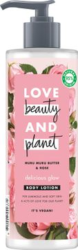 Love Beauty and Planet hudlotion Murumuru-smör och bulgarisk ros. 400 ml