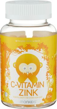 Monkids C-Vitamin & Zink Tuggtablett, 60 st