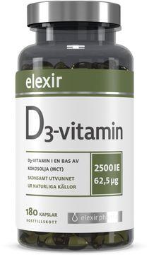 Elexir Pharma D3-vitamin Kosttillskott. 180 kapslar