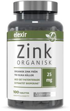 Elexir Pharma Organisk Zink Kosttillskott. 100 st