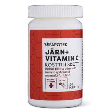 Kronans Apotek Järn + Vitamin C Tablett, 100 st