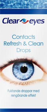 Cleareyes Contacts Refresh & Clean Återfuktande och rengörande ögondroppar. 15 ml