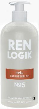 Ren Logik Tvål Rabarberblom Handtvål mild doft, vegansk. 500 ml