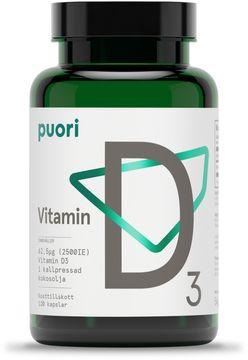 Puori Vitamin D3 D-vitamin 2500 IE. 120 kapslar