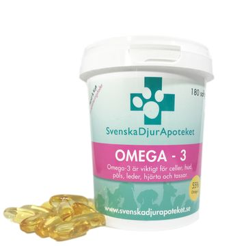 Svenska DjurApoteket Omega-3 Fodertillskott. 180 softgel tabletter