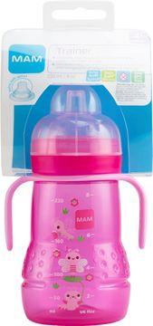 MAM Trainer 220 ml. Flaska med drickpip. Rosa. 1 st.