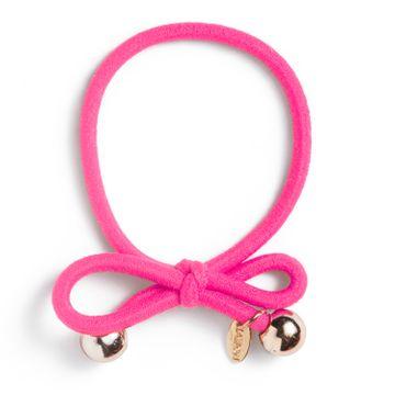 Ia Bon Hair Tie Gold Bead Neon Pink Hårsnodd. 1st