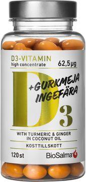 BioSalma D3 62,5 µg + Gurkmeja, Ingefära Kapsel, 120 st