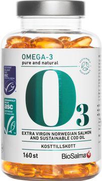 Biosalma Miljömärkt Omega-3 Pure And Natural 160 kapslar
