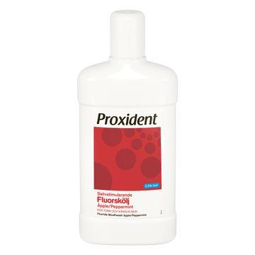 Proxident Fluorskölj Salivstimulerande Smak av äpple och pepparmint. 500 ml