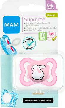 MAM Supreme Silikon Pink Napp 0-6 månader. 1 st