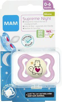 MAM Supreme Night Silk Pink Napp 0-6 månader. 1 st