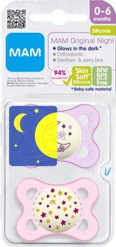 MAM Original Night Pink Napp 0-6 månader. 2 st
