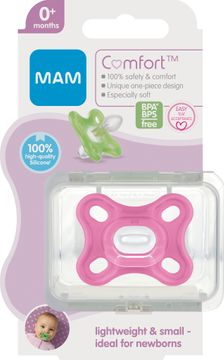MAM Comfort Newborn Pink Napp 0+ år. 1 st