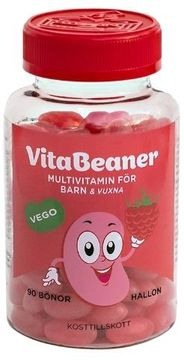 VitaBeaner Hallon Multivitamin för barn och vuxna. 90 st