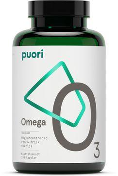 Puori O3 Omega-3 Koncentrerad fiskolja. 180 kapslar