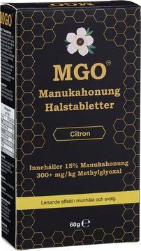 MGO Manukahonung Halstabletter med smak av citron. 60 g