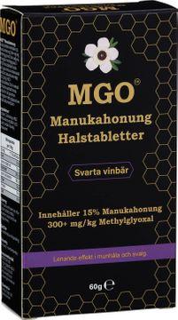 MGO Manukahonung Halstablett med smak av svarta vinbär. 60 g