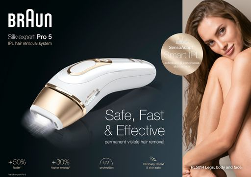 Braun Silk Expert Pro 5 PL5014 Vit & Guld IPL maskin, 1 st