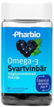 Pharbio Omega-3 Svartvinbär Högkoncentrerad fiskolja. 80 tabletter