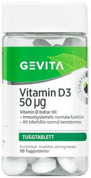 Gevita Vitamin D3 50 ug Tuggtablett, 90 st