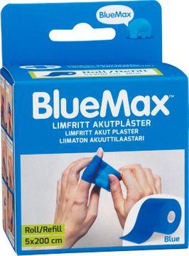 Blue Max Roll/Refill Blå. Limfritt akutplåster 5x200 cm. 1 st