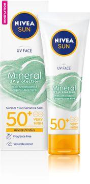 Nivea Face Mineral Sunscreen SPF 50+ Solskydd. 50 ml