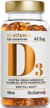 BioSalma D3-vitamin 62,5 µg High Concentrate Kapsel, 180 st